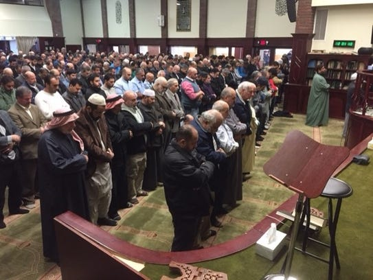 Services on Friday at the Passaic Islamic Center, where