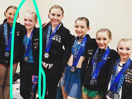 Ashlyn Flegel (second from left) is pictured with her