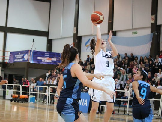 Dowling's Caitlin Clark competed with the USA women's U16 national team at the 2017 FIBA Americas Championship in Argentina June 7-11.