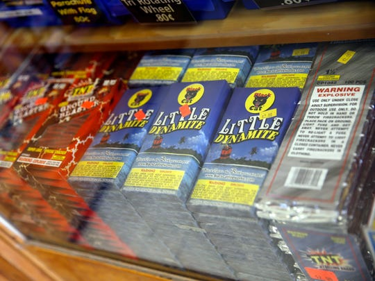Firecrackers are displayed at ABC Unlimited at 5165 U.S. Highway 64 on Friday.