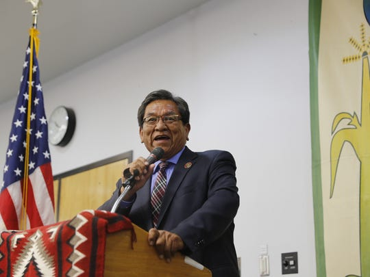 Navajo Nation President Russell Begaye spoke about the importance of higher education to recipients of the Chief Manuelito Scholarship awards ceremony on Friday at the Henderson Fine Arts Center at San Juan College in Farmington.