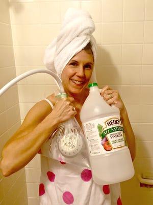 The DIY Dutchess turns to white vinegar to help keep her showerhead clean.