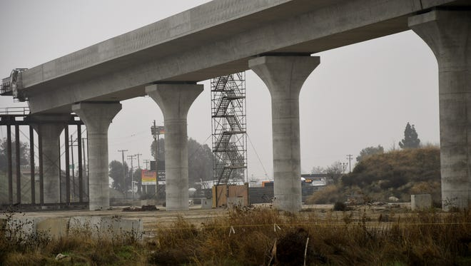 New construction on a segment of the California High Speed Rail, located near the intersection of North and Cedar Avenues just outside of Fresno, shows the rail's expansion toward Visalia.