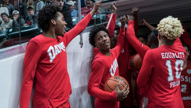 The Bosse Bulldogs hype themselves up before taking the court to face the Culver Academies Eagles in the IHSAA Class 3A State Championship match at Bankers Life Fieldhouse in Indianapolis, Saturday, March 24. The Bulldogs were defeated by the Culver Academies Eagles, 64-49.