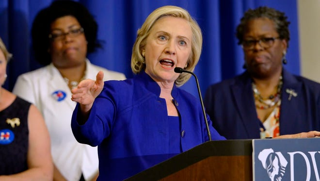 Democratic presidential candidate, former Secretary of State Hillary Rodham Clinton speaks to South Carolina House Democratic Women's Caucus and Women's Council, in Columbia.