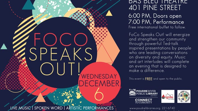 Event flyer for Dec. 6 FoCo Speaks Out! event.