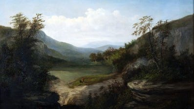 """A piece from the museum's permanent collection, this piece, """"Western North Carolina Landscape"""" by William C.A. Frerichs was painted around 1860."""