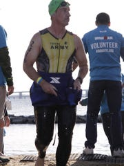 One of the three stages of the IRONMAN Nagel finished was a 2.4 mile swim.