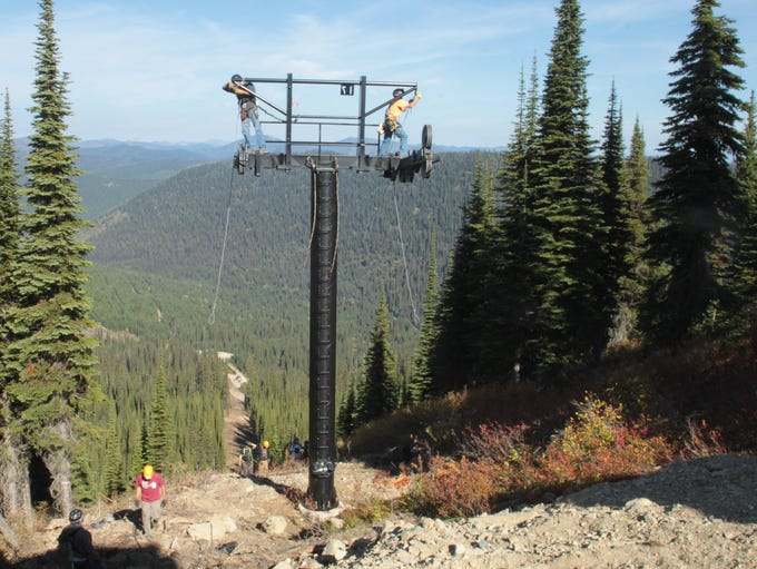Crews install the new Flower Point Chairlift at Whitefish Mountain Resort.
