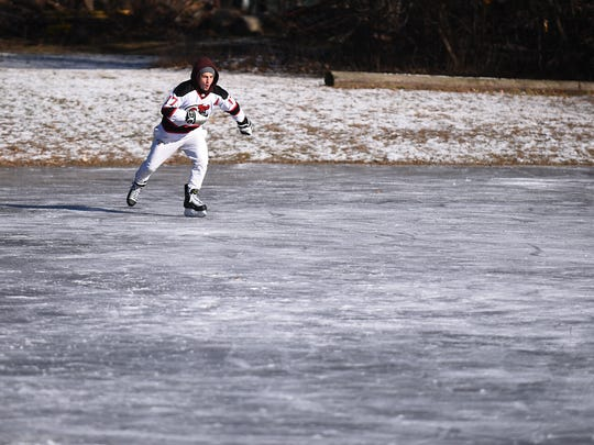 Matt Maghenzani from Upper Saddle River skates on the pond at Crestwood Park in Allendale, NJ on Thursday December 28, 2017.