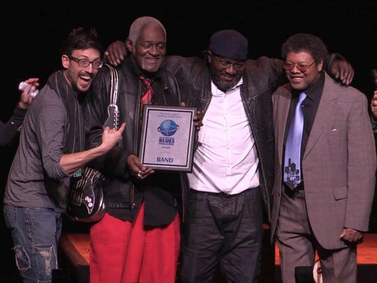 """The Norman Jackson Band received the third-place award in the International Blues Challenge in Memphis in 2016. The players, from left: Rick Shortt, Norman Jackson, Ron """"Boogieman"""" Brown and Danny Williams."""