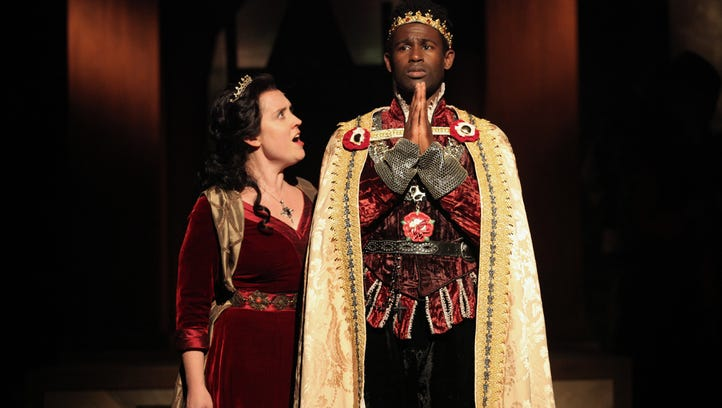"Paul Riopelle (left) as Duke of Gloucester, Darnell Pierre Benjamin as Henry VI, and Kelly Mengelkoch as Queen Margaret in Cincinnati Shakespeare Company's production of William Shakespeare's ""Henry VI: Wars of the Roses Part 1."" The show runs Jan. 22-Feb. 13 in CSC's theater, 719 Race St., Downtown."