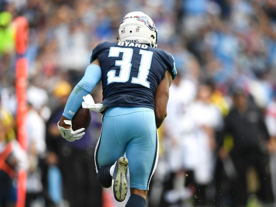 Titans safety Kevin Byard (31) runs up the field with his interception during the first quarter at Nissan Stadium Sunday, Nov. 5, 2017 in Nashville, Tenn.