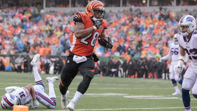 Cincinnati Bengals running back Joe Mixon (28) scores a touchdown in the fourth quarter during the Week 5 NFL game between the Buffalo Bills and the Cincinnati Bengals on Sunday, Oct. 8, 2017, at Paul Brown Stadium.
