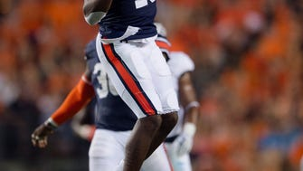 Auburn defensive back Javaris Davis (13) reacts to a flag being thrown after a hit during the NCAA football game between Auburn vs. Georgia Southern on Saturday, Sept. 2, 2017, at Jordan Hare Stadium in Auburn, Ala.