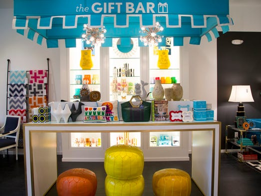 A preview of the Jonathan Adler store at Biltmore Fashion Park which opens to the public on August 22, 2014. An overall of the Gift Bar.