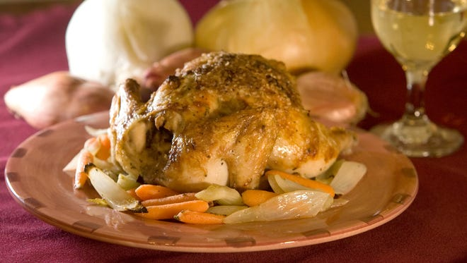 Chef Laura Marquez's Cornish Game Hen With Sage Butter and Roasted Vegetables.