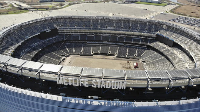 An empty MetLife Stadium in East Rutherford, New Jersey, is seen from the air on April 6. The stadium is home to the Jets and Giants.