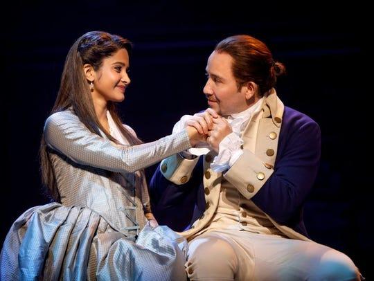 Shoba Narayan and Joseph Morales play Eliza and Alexander