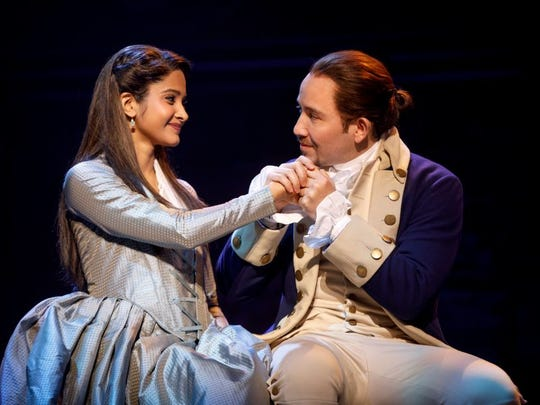 """Shoba Narayan and Joseph Morales play Eliza and Alexander Hamilton in the national tour of """"Hamilton: An American Musical."""" The show debuts June 27 in Des Moines at the Civic Center."""