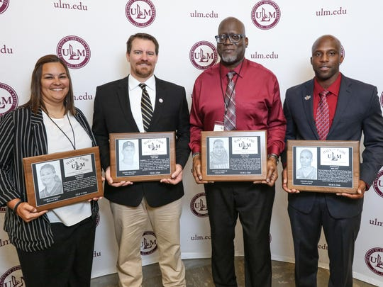 Former Fort Pierce Westwood football player Jeff Blackshear (third from left) was inducted into the University of Louisiana-Monroe Hall of Fame in 2018. Also pictured are (from left) Casey Goodman, Kenny Holubec and Steven Jyles.