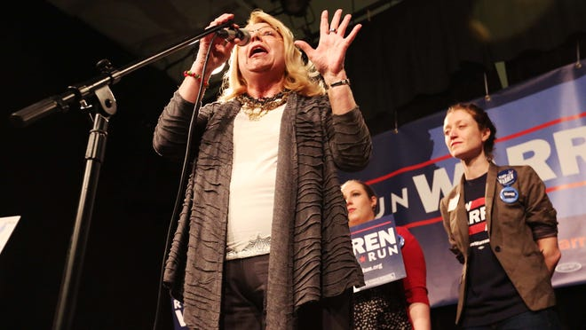 Iowa Sen. Pam Jochum speaks during the Run Warren Run rally Wednesday at Java Joe's in Des Moines. The event aimed to encourage Sen. Elizabeth Warren, D-Mass., to run for president.