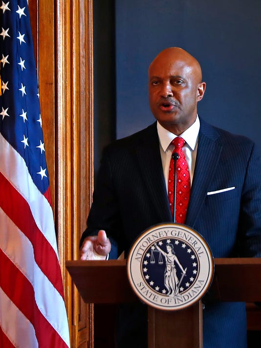 Indiana Attorney General Curtis Hill makes a statement about allegations of sexual harassment.