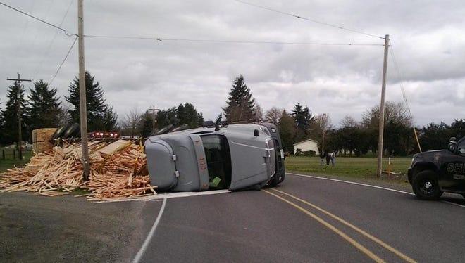 Overturned truck on Jefferson-Scio Drive.