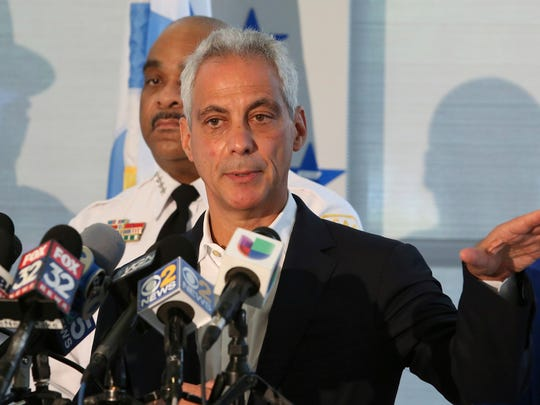 Chicago Mayor Rahm Emanuel speaks at a news conference