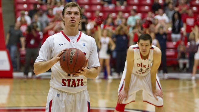 Dixie State guard Mason Sawyer takes a critical free throw in the last minutes of their game against Chaminade Thursday.