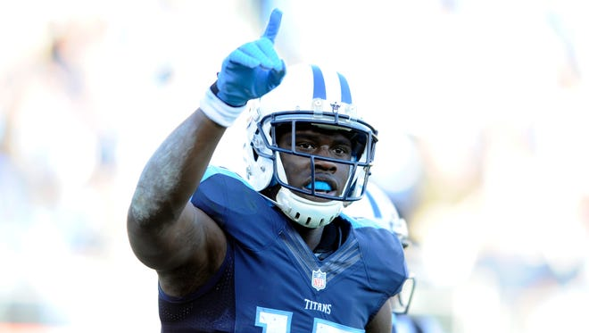 Titans receiver Dorial Green-Beckham celebrates after scoring a touchdown during the second half against the Jaguars at Nissan Stadium on Dec. 6, 2015.