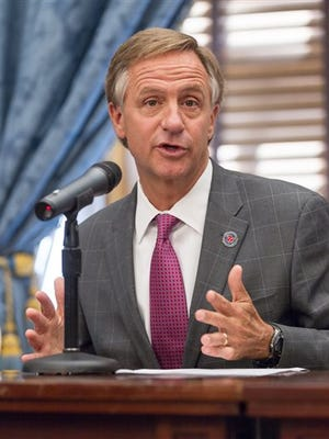 Republican Gov. Bill Haslam speaks about the conclusion of the legislative session at a news conference at the state Capitol in Nashville, Tenn., on Thursday, April 23, 2015. (AP Photo/Erik Schelzig)