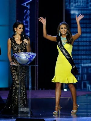 Miss Tennessee Hannah Robinson waves after she answered a question during the Miss America 2016 pageant on Sunday in Atlantic City, New Jersey.