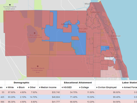 Midterm election results by precinct in St. Lucie and Indian River counties. Data not available for Martin County.