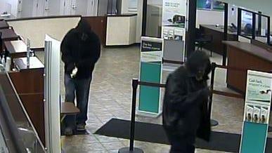 Surveillance photos from inside bank.
