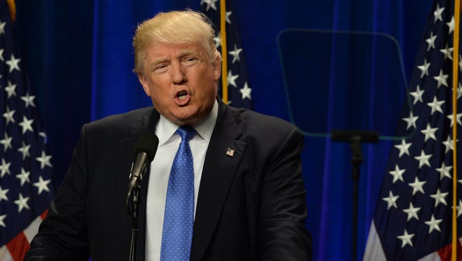 Republican Presidential candidate Donald Trump speaks at Saint Anselm College June 13, 2016, in Manchester, N.H.