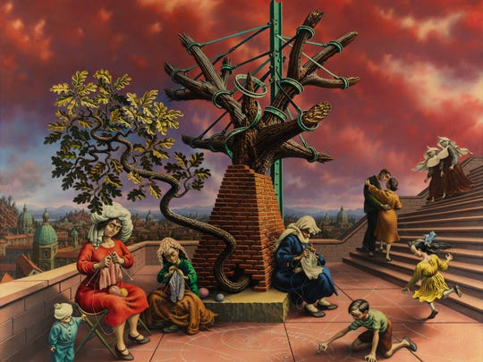 Peter Blume's oil painting, 'Tasso's Oak' (1957-60)) is one of four key works buttressing his exhibit at Pennsylvania Academy of Fine Arts through April 5.