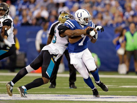 Jacksonville Jaguars defensive end Dante Fowler (56) sacks Indianapolis Colts quarterback Jacoby Brissett (7) during the second half of an NFL football game in Indianapolis, Sunday, Oct. 22, 2017. (AP Photo/AJ Mast)