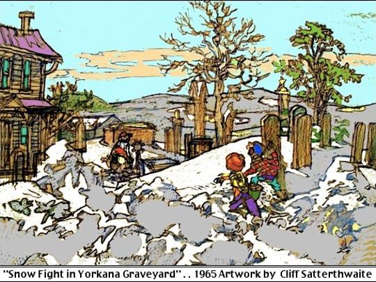 """Snow Fight in Yorkana Graveyard,"" Yorkana, York County, PA (1962 Artwork by Cliff Satterthwaite)"