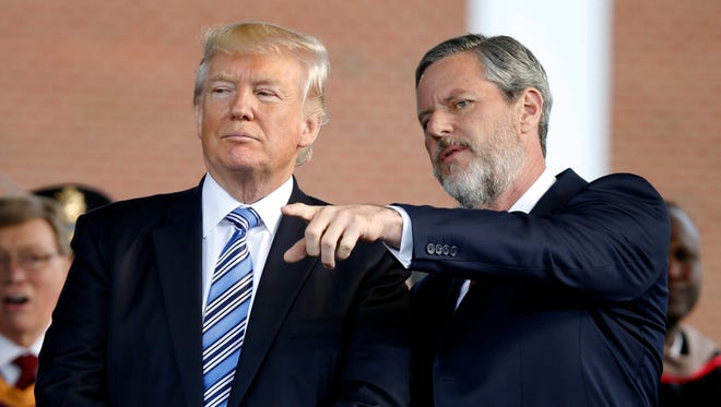 President Trump and Jerry Falwell Jr. in Lynchburg, Va., on May 13, 2017.