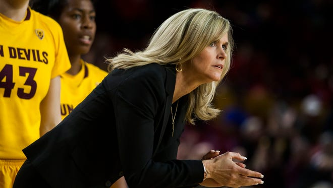 Feb. 4, 2014 - ASU Head Coach Charli Turner Thorne watches the action during the UA game in Tempe.