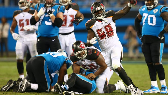 Sep 12, 2019; Charlotte, NC, USA; Tampa Bay Buccaneers linebacker Shaquil Barrett (58) celebrates after a sack against the Carolina Panthers in the fourth quarter at Bank of America Stadium. Mandatory Credit: Jeremy Brevard-USA TODAY Sports