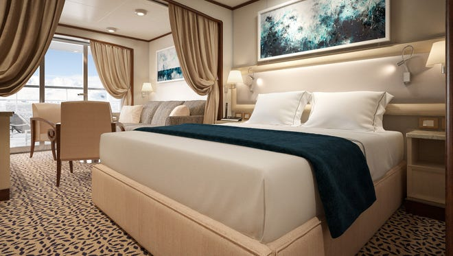 An artist's drawing of the new look planned for Veranda Suites on Silversea's Silver Cloud.