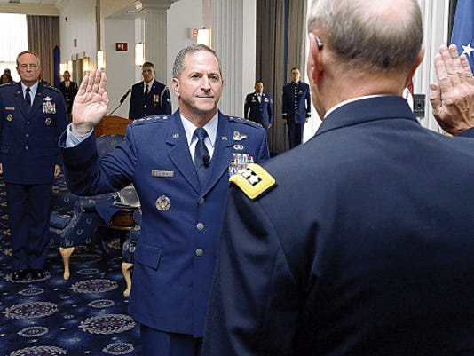 "Gen. David L. Goldfein is given the Oath of Office by Chairman of the Joint Chiefs of Staff Gen. Martin Edward ""Marty"" Dempsey during his promotion ceremony Aug. 6 in Washington, D.C.  Goldfein will become the Air Force's 38th Vice Chief of Staff, and most recently served as the director of the Joint Staff."