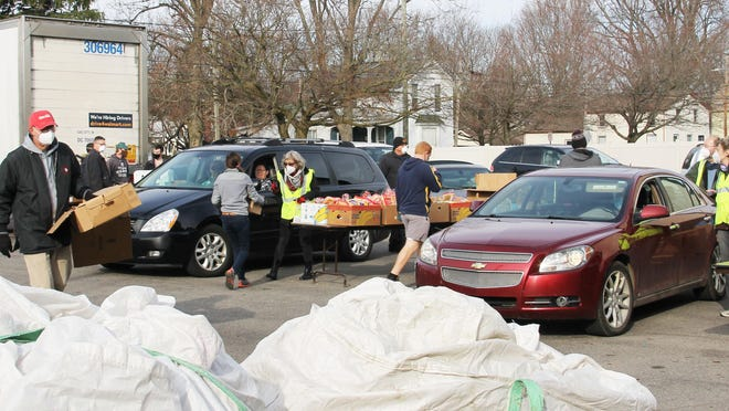 Branch Area Food Pantry Holiday Distribution provided food for 1,200 families on Saturday.