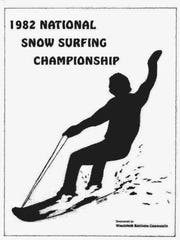 A poster for the first national snowboarding championships held in 1982 at Suicide Six in Woodstock.