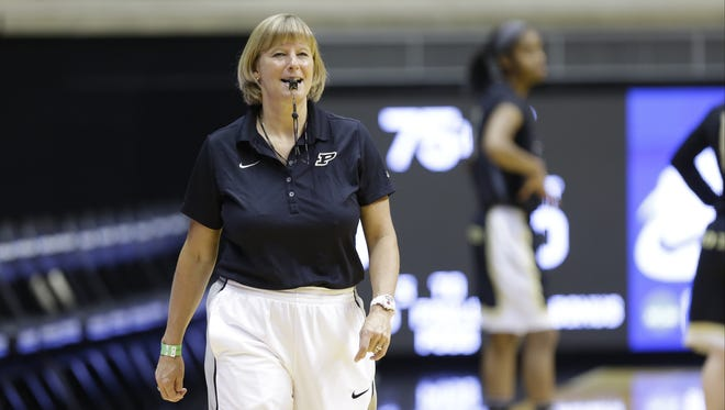 Purdue head coach Sharon Versyp during practice at the women's NCAA college basketball tournament in West Lafayette, Ind., Friday, March 21, 2014.  Purdue plays Akron in a first-round game on Saturday. (AP Photo/Michael Conroy)