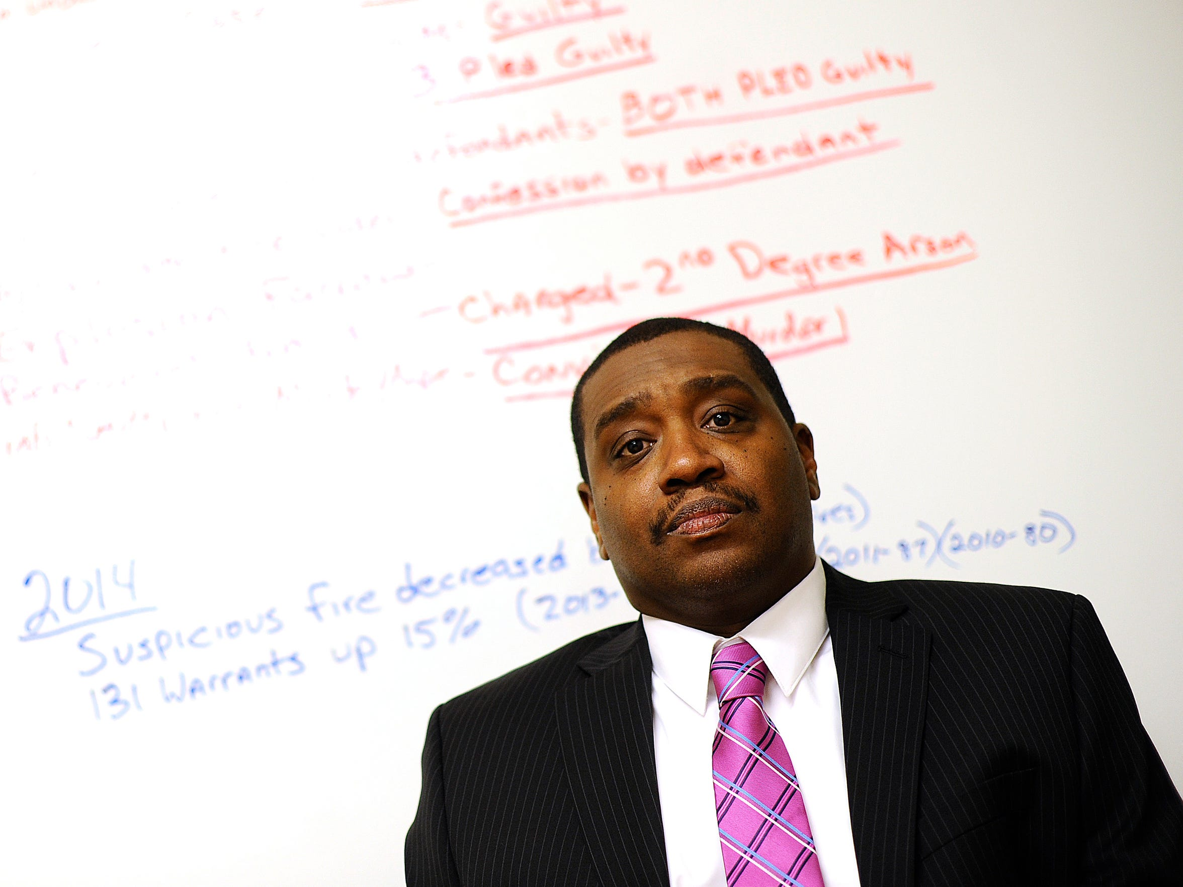 Detroit Arson Chief Charles Simms keeps track of the