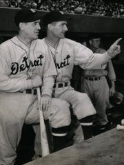 Carry on For MIckey: CY Perkins Dell Baker, Detroit Tiger coaches, carried on for Mickey Cochrane Manager,