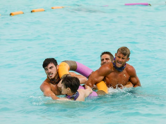 """Survivor: Ghost Island"" contestants, from left, Michael Yerger, Donathan Hurley, Brendan Shapiro and Chris Noble compete during a challenge."